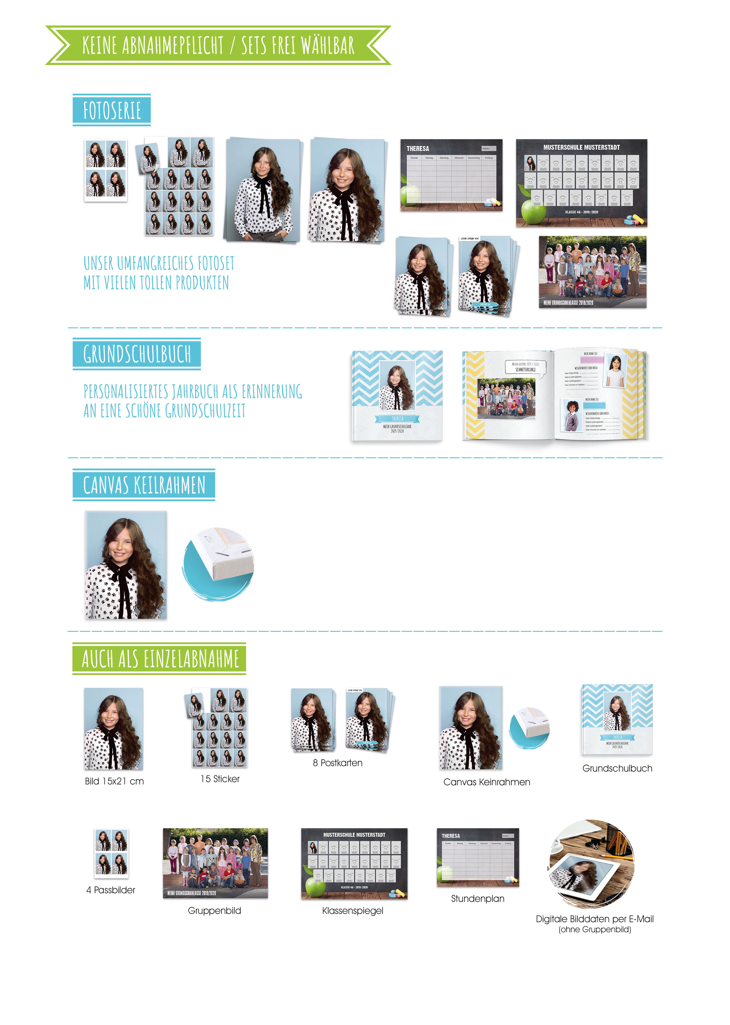 Kizpix.de Produktübersicht für die Einschulung und Grundschule: Fotoserie Bücher Leinwand