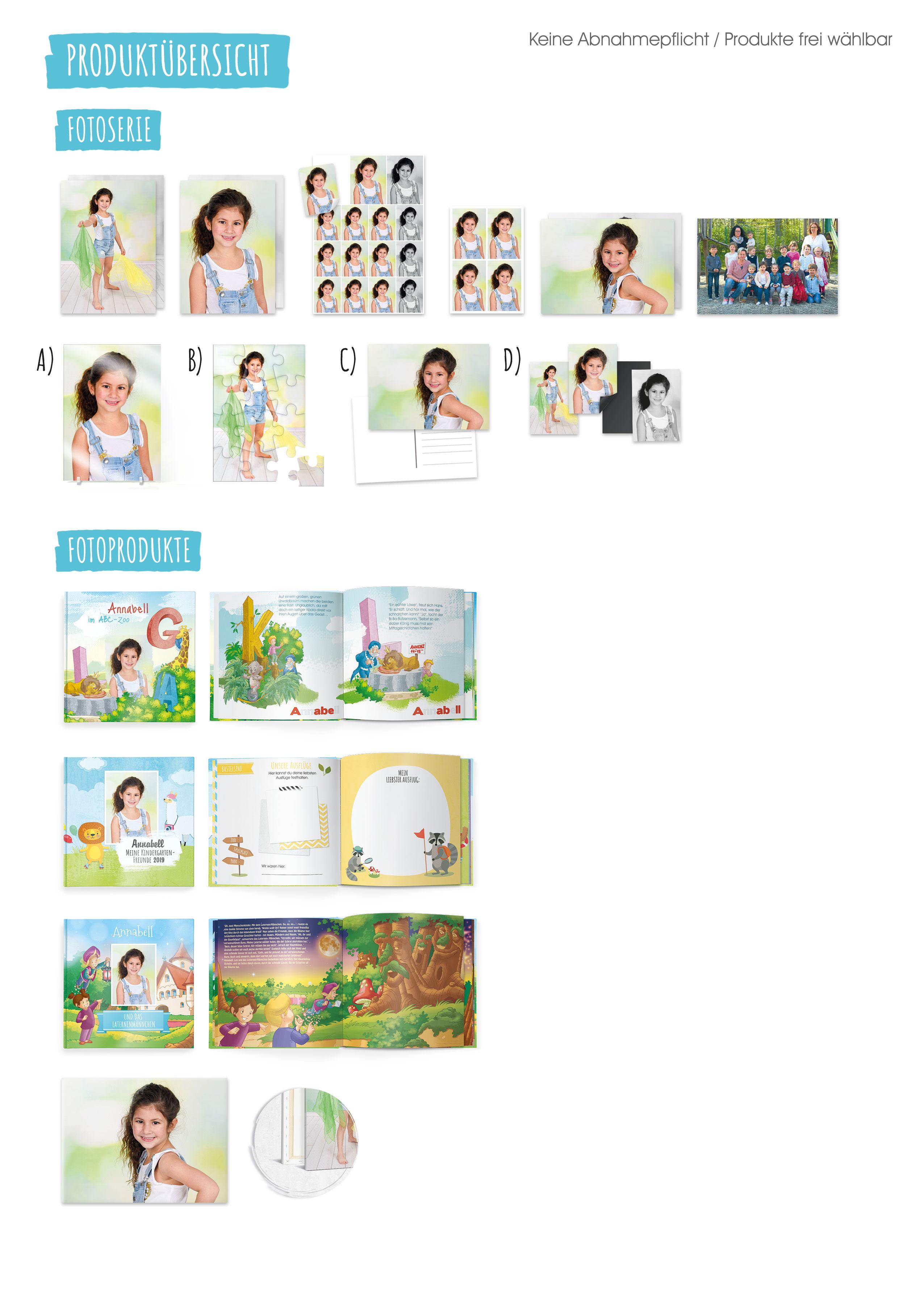 Kizpix.de Produktübersicht für Kindergärten: Fotoserie Fotoprodukte